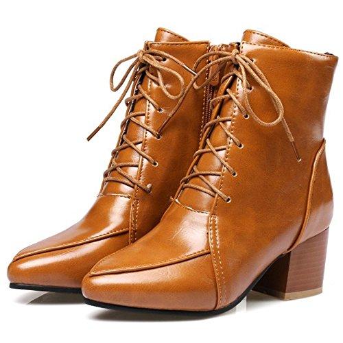 COOLCEPT Damen Mode Stiefel Zipper Yellow-Brown