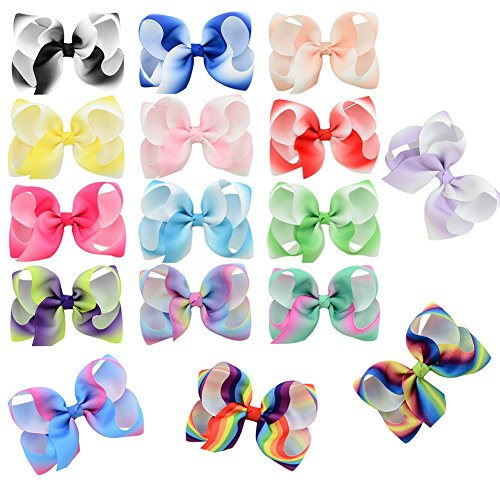 - 16pack 4.5inch Hair Bow Clips for Girls Ribbon Bowknot Hair Bows With Alligator Clips Grosgrain Barrettes Accessories (16 Colors Rainbow)