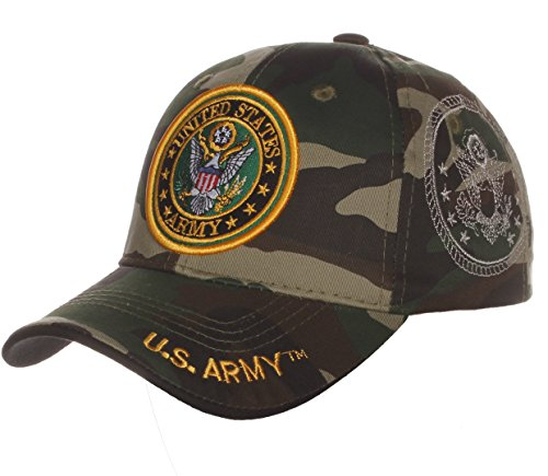 - US Army Official License Structured Front Side Back and Visor Embroidered Hat Cap