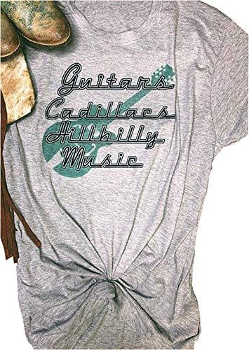 Women Guitars Cadillacs Hillbilly Music T-Shirt Funny Letter Print O-Neck Short Sleeves Tee Tops (Gray, S)