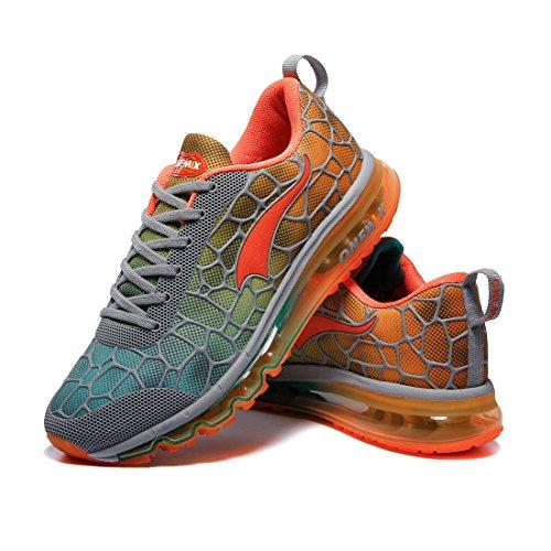 Corsa Fitness Donne Onemix Walking Sneaker Cuscino Scarpe Arancione Jogging Grigio Ginnastica D'aria Da Uomini E Per Sport Athletic Gym SxHXxf