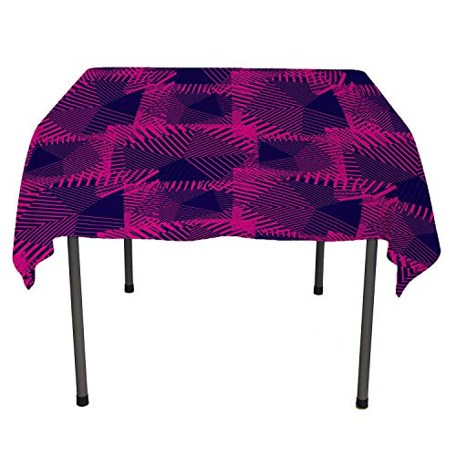 Magenta tablecloth clear protector Trippy Zip Style Mix Pattern with Dark Color Effects and Diagonal Linked Lines Fuchsia Purple waterproof tablecloth cheap Spring/Summer/Party/Picnic 60 By 84