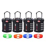 Change Your Own Color and Combination, Open Alert Indicator, 4 Digit TSA Lock, 4 Pack