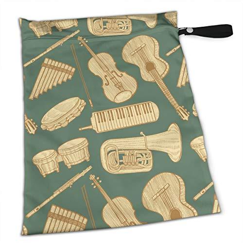 Musical Instrument Hand Drawn Style Green Wet Bag with A Zipper Pocket Reusable Diaper Bag