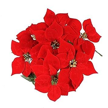 amazon com luyue 7 head red christmas poinsettia bush fake flowers