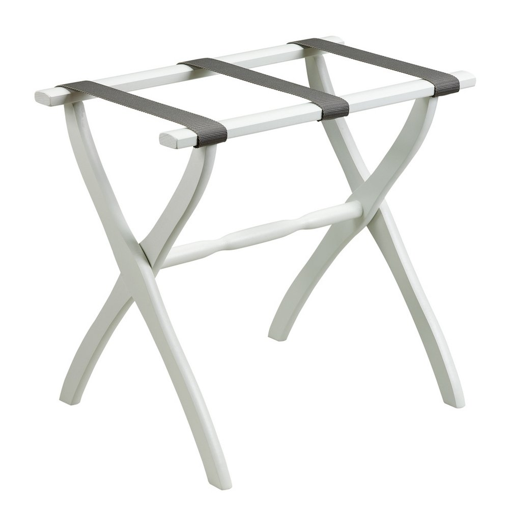 White Contour Leg Luggage Rack with Grey Straps