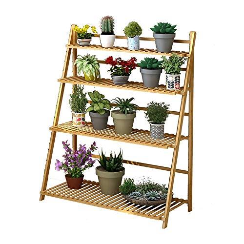 Solid Wood Flower Stand Floor Living Room Multi-Storey Folding Flower Pot Rack Balcony Garden Rack (Size : F-100x45x122cm)