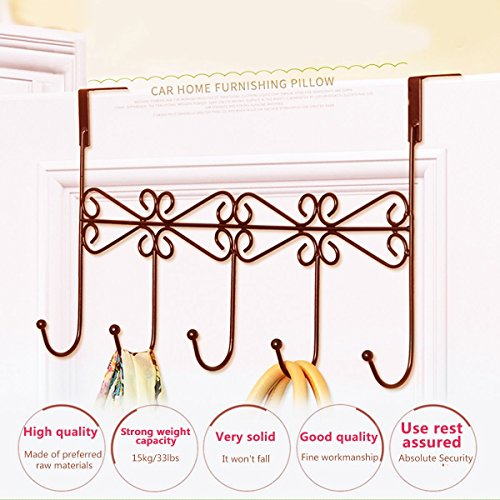 Xingyou Over Door Clothes Hanger with 5 Hooks Decorative Metal Hanger for Coats, Hats, Towels XY-H-002 (Max Bearing Weight: 10kg/22 lbs) Coffee (2) by Xingyou (Image #4)