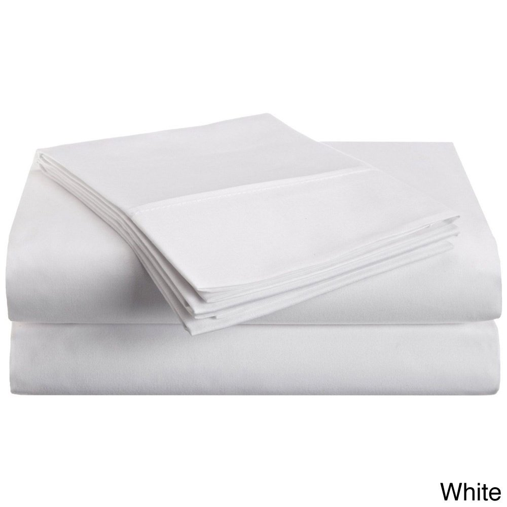 3 Piece Twin White Sheet Set, Casual & Traditional Style, Solid Color, Fully Elasticized Fitted Sheet, Solid Color, Microfiber, Sateen weave, Single-ply design, Machine Wash, Bed Sheet