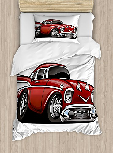 Lunarable Boy's Room Duvet Cover Set Twin Size, Classic Vintage American Muscle Car Fancy Old Fashion Famous Icon Graphic Print, Decorative 2 Piece Bedding Set with 1 Pillow Sham, Grey Ruby (State Headboard Twin)