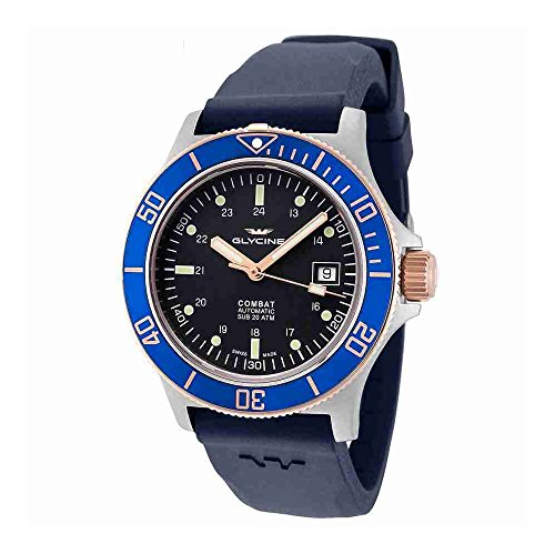 Glycine Combat Sub Automatic Blue Dial Blue Rubber Mens Watch GL0089