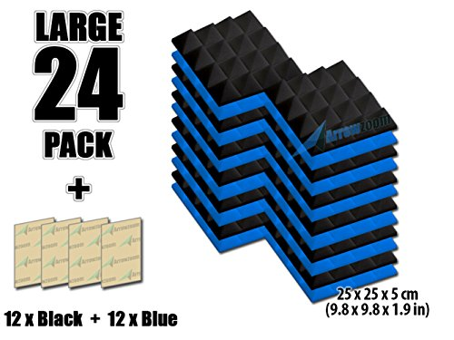 arrowzoom-new-24-pack-of-blue-black-98-in-x-98-in-x-19-in-soundproofing-insulation-pyramid-acoustic-