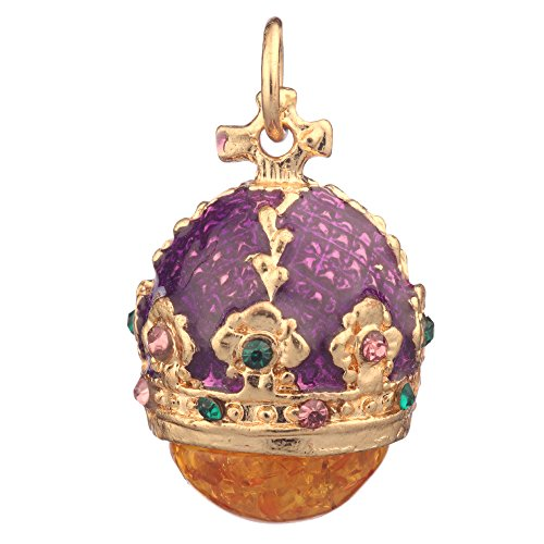 danila-souvenirs Russian Faberge Style Egg Pendant/Charm Crown with Crystals 0.9'' Purple #0801-12