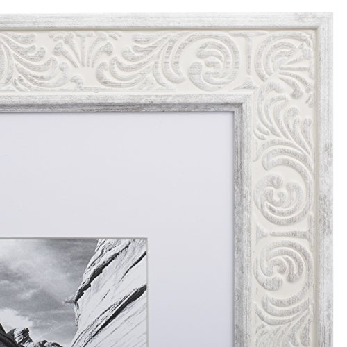 8x10 Picture Frame Distressed White - Matted to 5x7, Frames by EcoHome