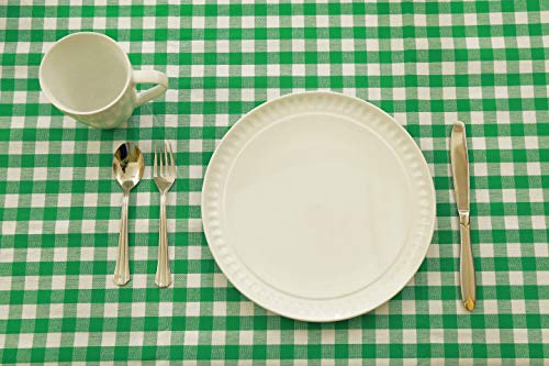 Table cloth, Made with 100% Pure Cotton, Gingham checks, Green and White of Size 59 X 59 Inches, Square Tablecloth For Dinner Parties, Summer & Outdoor Picnics ()