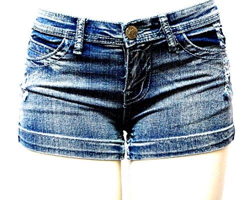Women's Juniors Classic Perfect Fit Mid-Rise Blue Denim Jeans Shorts (Blue Acid 1747SH, 7) by JEANS FOR LOVE (Image #2)