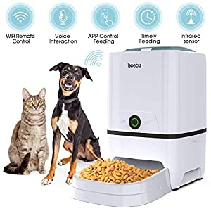 Iseebiz Automatic Pet Feeder 5L Smart Feeder Dog Cat Food Dispenser Voice Recording,Timer Programmable, Portion Control, IR Detect, 8 Meals Per Day for Small and Medium Pet
