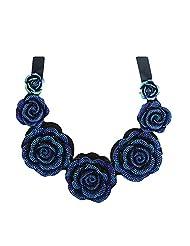 Qiyun Handmade Ribbon Gradual Resin Flower Bib Statement Choker Collar Beach Necklace Ruban Fleur Re sine Progressive Plage Collier