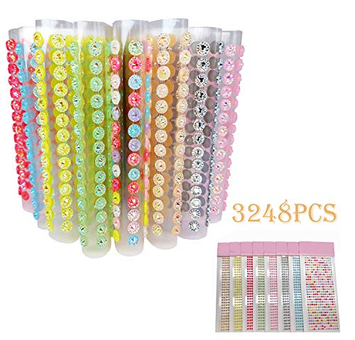 - Kbraveo 3248 Pieces 5mm Self-adhesive Bling Rhinestone Sticker Colorful Rhinestone Stickers in 8 Colors Ideal for DIY,Face Makeup,Decoration, Festival,Art Crafts and Embellishments,Sun Flower Bling Rh