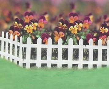 Set Of 5 White Wood Effect Plastic Panel PVC Garden Lawn Edging Flowerbox Picket  Fence Panels