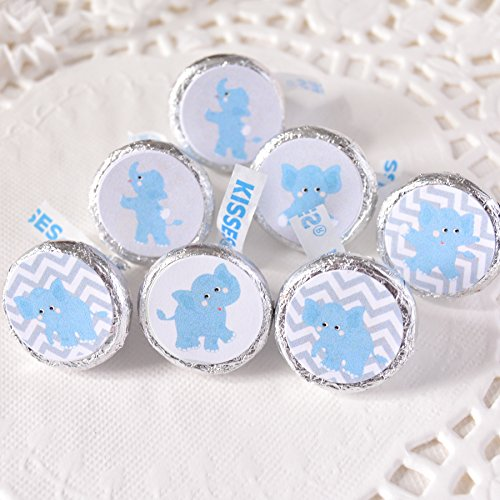 324 Blue Elephant Candy Labels, Blue Elephant Baby Shower Party Favors Elephant Birthday, Elephant Round Candy Labels -