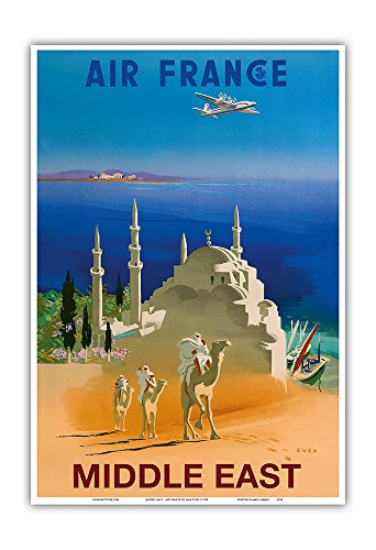 Middle East - Air France - Tuareg Camel Riding Nomads - Vintage Airline Travel Poster by Jean Even c.1950 - Master Art Print - 13in x 19in