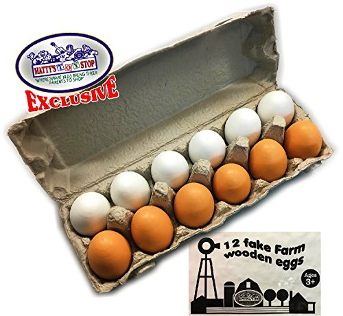 Matty's Toy Stop Deluxe Wooden Eggs (White & Brown) in Real Egg Carton Play Food - 12 Pieces (Dozen) (Play Family Farm)