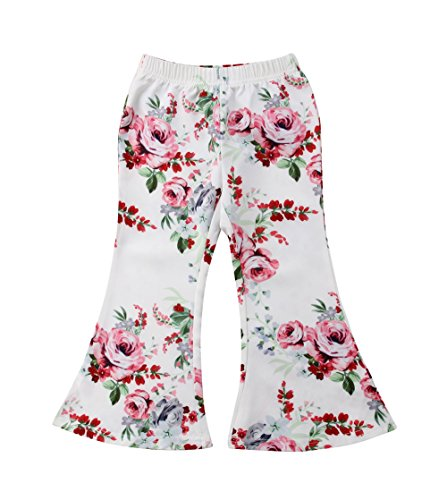 Baby Kids Girl Floral Flare Trousers Bell Casual Long Wide Leg Pants (Pink, - Kids Flare