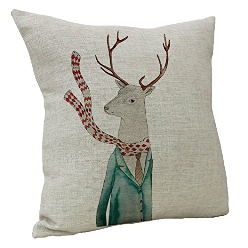 Hot Sale!Pillow Cases ZYooh Vintage Retro Cotton Linen Printed Throw Pillow Case Cushion Cover Cafe Home Party Hallowmas Christmas Decor (B)