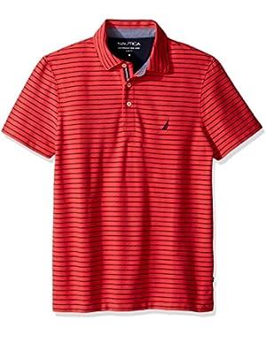 Men's Slim Fit Short Sleeve Striped Polo Shirt,