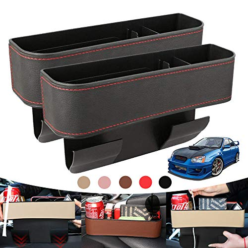 BUYNICE Car Seat Gap Filler with Cup Holder,Multifunctional Car Seat Organizer PU Leather Seat Console Side Pocket Storage Box for Phones, Keys, Cards, Wallets, Sunglasses 2 Pack Black Red