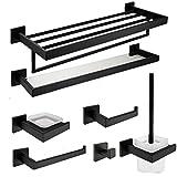AUSWIND 7-Piece Black Oil Bronze 304 Stainless Steel Square Base Bathroom Hardware Set (Glass Shelf/Toilet Brush Holder/Towel Bar/Clothes Hook/Towel Rack/Toilet Paper Holder/Soap Dish Holder)