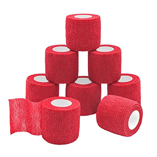 (GooGou Self Adherent Wrap Bandages Self Adhering Cohesive Tape Elastic Athletic Sports Tape for Sports Sprain Swelling and Soreness on Wrist and Ankle 8PCS 2 in X 14.7 ft (red))