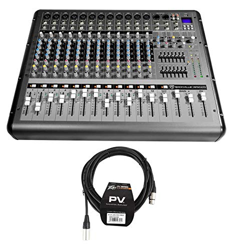 Rockville RPM1470 14 Channel 6000w Powered Mixer w/USB, Effects+Peavey XLR Cable