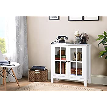 Image of American Furniture Classics OS Home and Office Glass Door Accent and Display Cabinet, White
