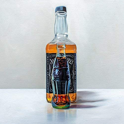 Whiskey and Coke - Artist Signed Original Oil Painting Handmade Modern Home Wall Art Decor - Direct from the Artist, 12