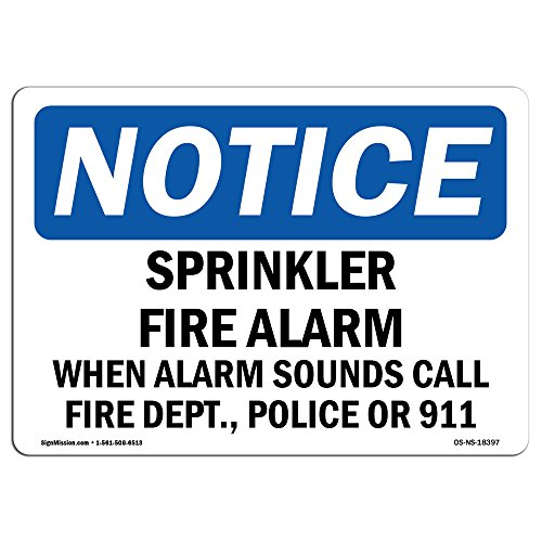 (OSHA Notice Sign - Sprinkler Fire Alarm When Alarm Sounds Call | Choose from: Aluminum, Rigid Plastic or Vinyl Label Decal | Protect Your Business, Work Site, Warehouse & Shop Area | Made in The USA)