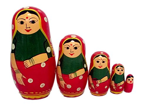 5 PCS Red Hand Painted Wooden Russian Nesting -