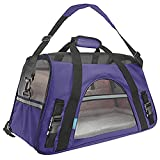 Ltuotu Airline Approved Pet Carriers for Dogs & Cats Travel Carrier with Removable Fleece Be (L, Purple)