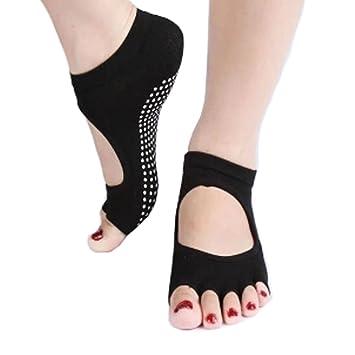 De la Mujer antideslizante mitad Dedos calcetines Yoga algodón sin dedos calcetines de cartucho sin espalda