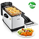 Appliances : Aicok Deep Fryer 1700W Fast Heat up Immersion Fryer Perfect for Chicken, Shrimp, Fries and More with Adjustable Temperature & Timer, Capacity 2.5L Fully Detachable Fryer for Easy Clean, Stainless Steel