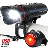 Cycle Torch Shark 500 USB Rechargeable Bike Light - Headlight & Tail Light Set- Fits All Bicycles, Hybrid, Road, MTB, with Quick Release