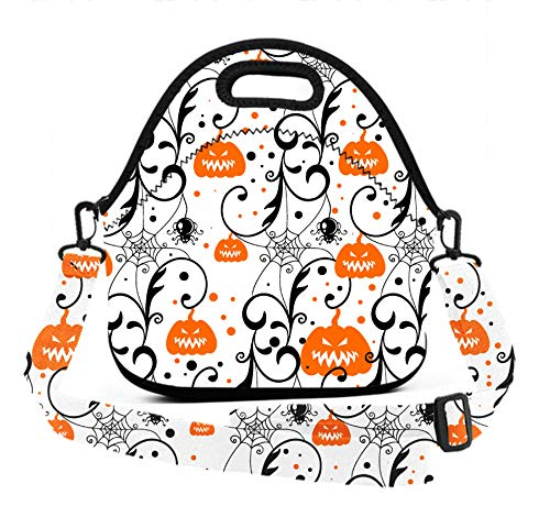 (ART TANG Neoprene Lunch Tote - Happy Halloween Party Pumpkin Waterproof Reusable Lunch Box for Men Women Adults Students Kids Toddler Nurses with Adjustable Shoulder Strap - Best Travel)