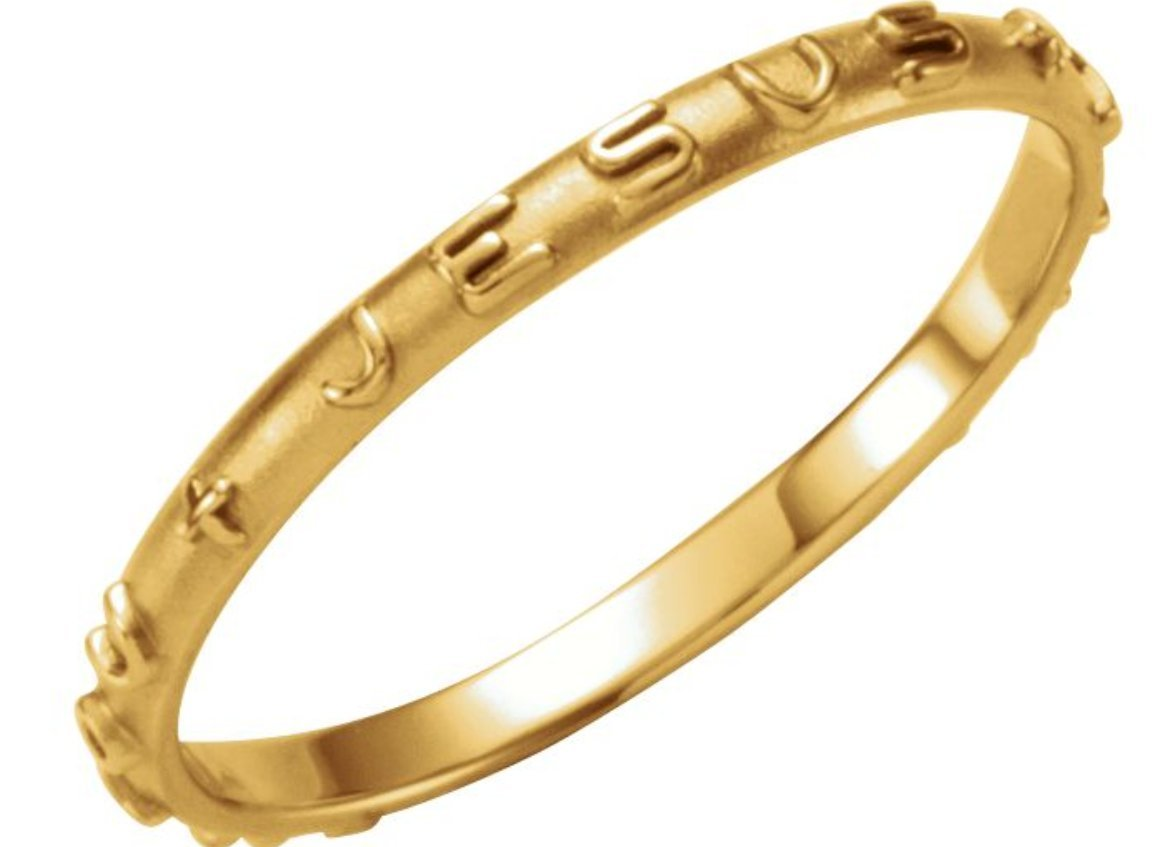 'Jesus I Trust In You' 14k Yellow Gold Prayer Ring, Size 4 by The Men's Jewelry Store (Unisex Jewelry) (Image #1)