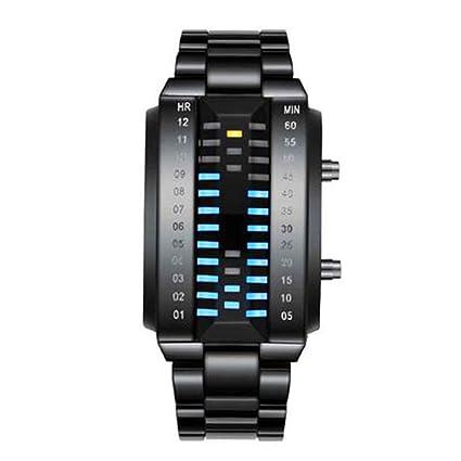 Mmyunx Mens LED Relojes binarios LED Digital Impermeable Relojes de Acero Inoxidable Reloj clásico Moda Creativa