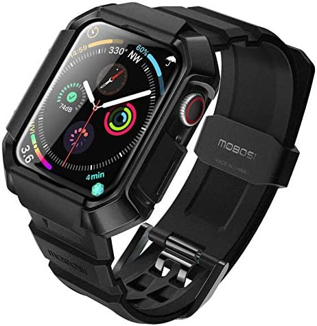 MOBOSI Watch Band Compatible with Apple Watch 44mm with Case, Military Grade Rugged Protective Case with Breathable TPU Sport Band Compatible with iWatch Series 6/5/4/SE - Black