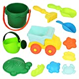 WTOR Beach Toys 12Pcs Soft Durable Sand Toys Set/Backyard Games/Shower Bath Play Water Toys Sets for Toddlers Kids Children Including Truck,Sand Bucket Sifter,Rake, Sand Shovel ect Set