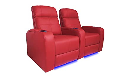 Valencia Verona Premium Top Grain 9000 Leather Power Recliner LED Lighting Home Theater Seating (Row of 2, RED)