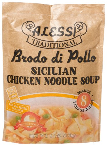 Alessi Traditional Brodo di Pollo, Sicilian Chicken Noodle Soup, 6-Ounce Packages (Pack of 6)