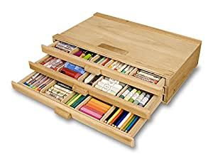 Creative Mark 3 Drawer Pastel Box Sturdy Stackable Wood Storage Box For Pastels, Art Tools, Paint Brushes & Make Up Brushes